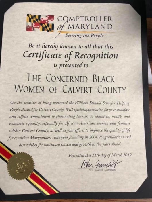 The Concerned Black Women of Calvert County - William Donald Schaefer Helping People Award